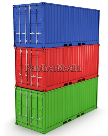 three freight containers stacked in a