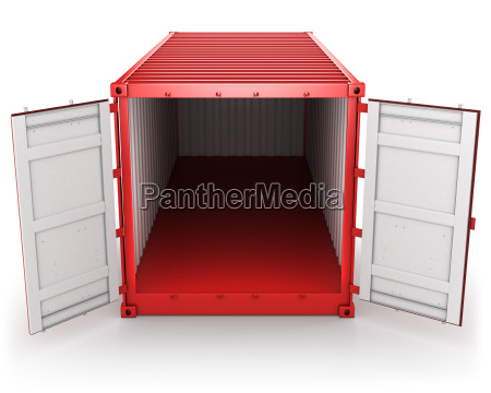 opened red freight container isolated front