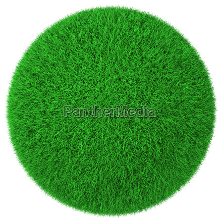 ball made of green grass isolated