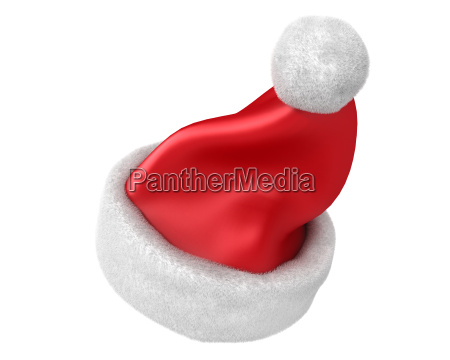 traditional red santa hat isolated