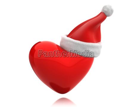 red shiny heart with santa hat