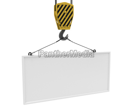 yellow crane hook lifting white blank