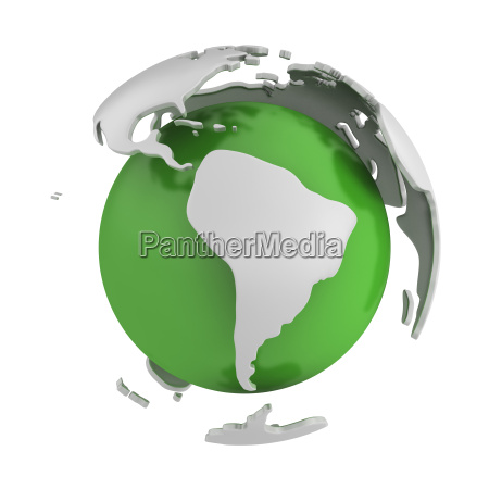 abstract green globe south america part