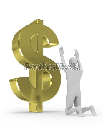 3d mann betet grosses dollarzeichen an