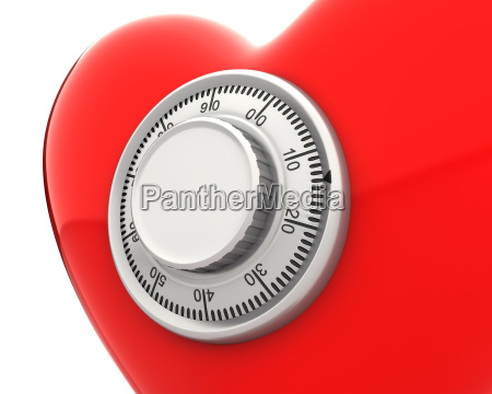 red heart with a numeric safe