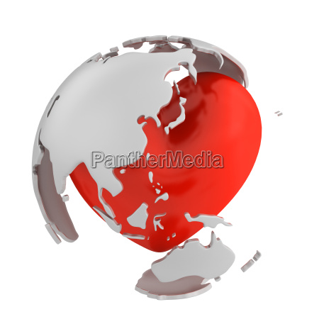 globe with heart asian part