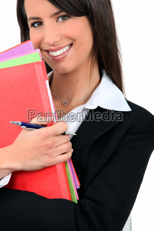 professional woman with folders