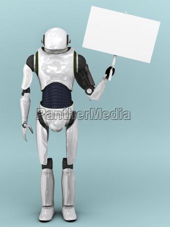kuenstliche roboter halten zeichen