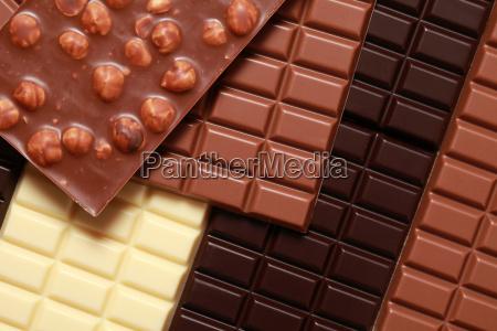 verschiedene sorten schokolade