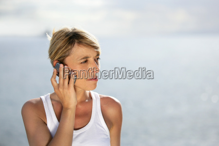 woman on vacation talking on her