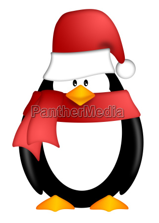 penguin with santa hat and red
