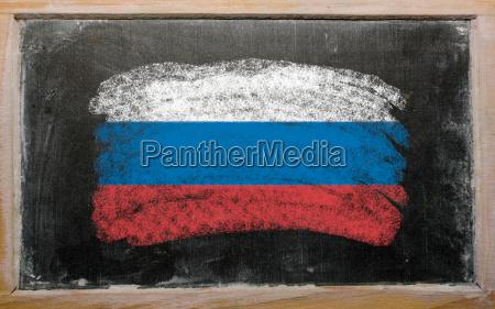 flagge von russland auf tafel mit