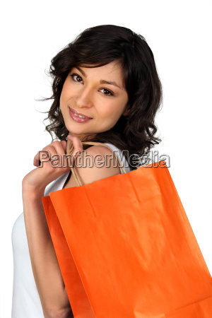 young woman with a luxury store