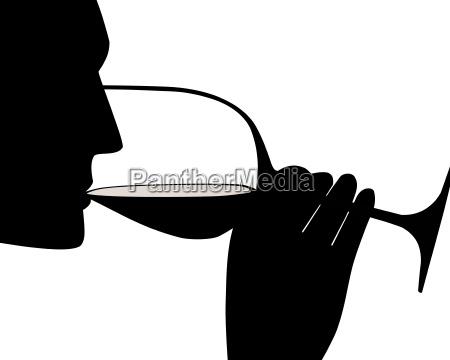 wein trinken silhouette