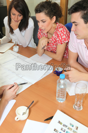 team meeting in an office