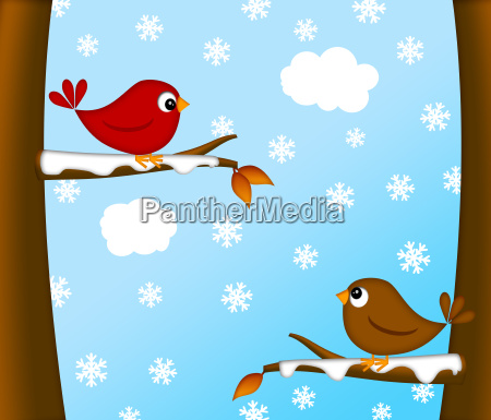 christmas red cardinal bird pair winter
