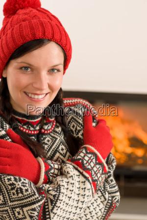 fireplace winter xmas young woman wear