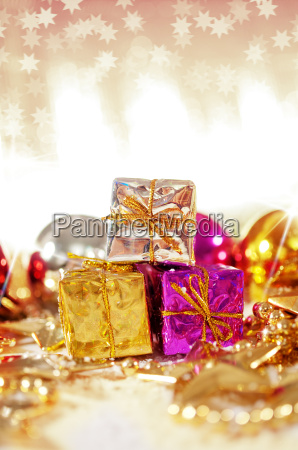 christmas background with gifts and baubles