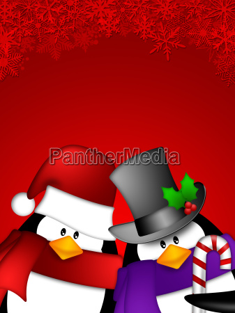 penguin couple on red snowflakes background