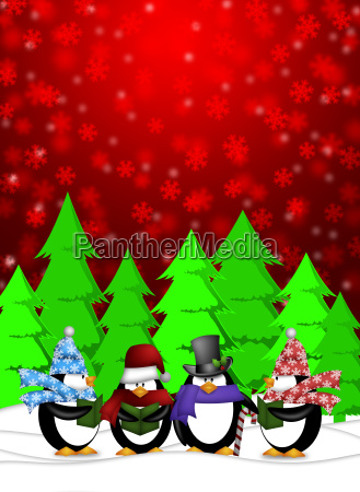 penguins carolers singing with red winter