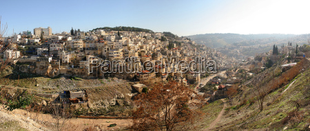 panoramic view small palestinian village on