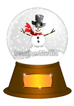 water snow globe with snowman illustration