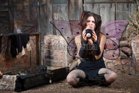 unhappy fairy with eight ball