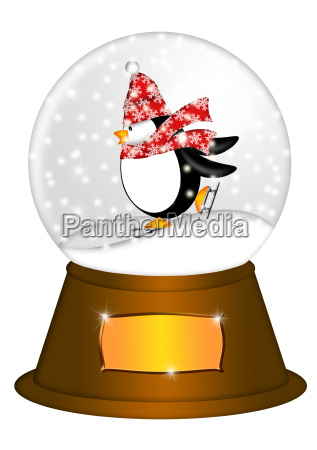 water snow globe with penguin ice