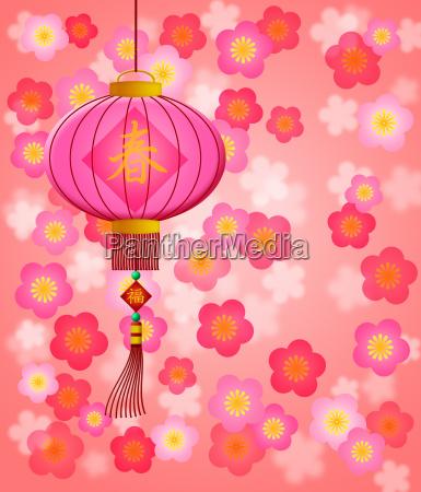 chinese new year lantern with cherry