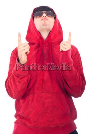 hip hop dancer pointing up