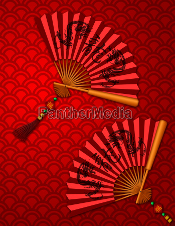 chinese new year dragon fans on