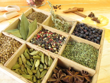 spice box with pepper marjoram coriander