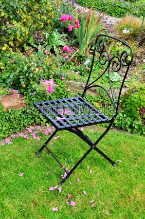 iron chair in the garden