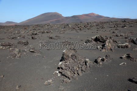 view over a lava field towards