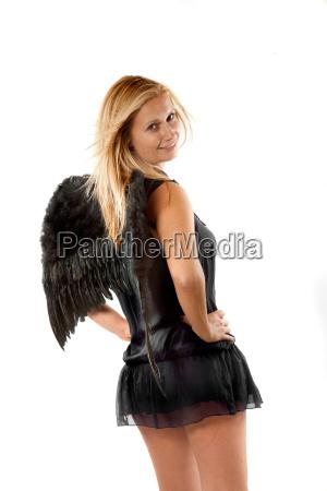 blond angel in black