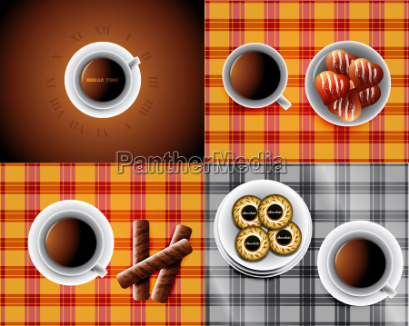 set of backgrounds including cup of