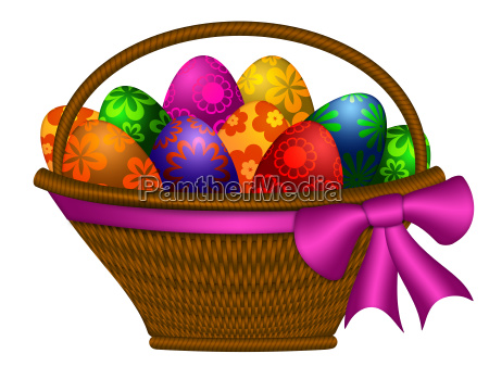basket of easter day eggs with