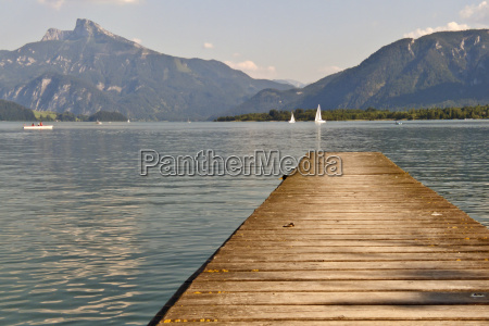 jetty on lake mondsee