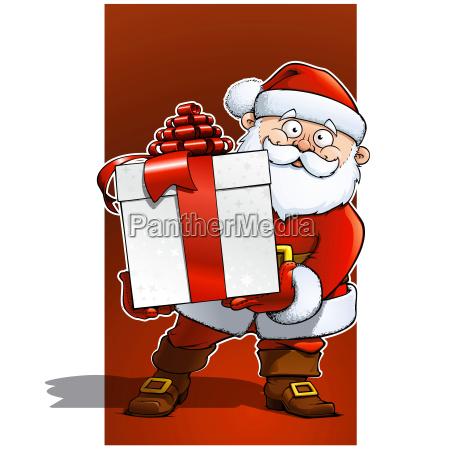 santa with big white gift