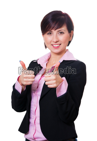 attractive business woman motivatively raises both