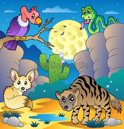 desert scene with various animals 2