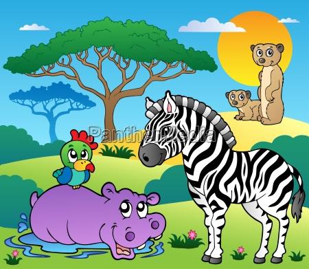 savannah scenery with animals 4