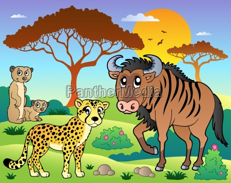 savannah scenery with animals 5
