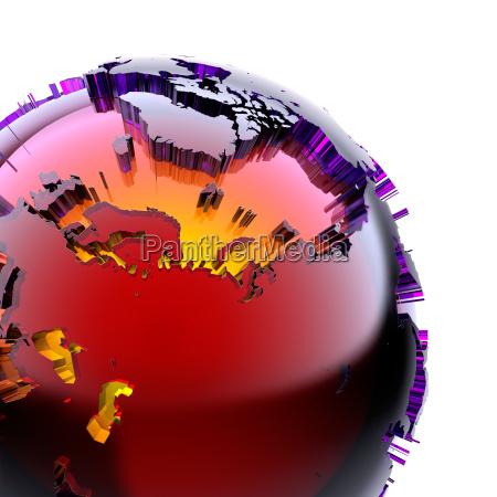 globus aus farbigem glas mit einem
