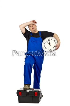 construction worker with clock in hand