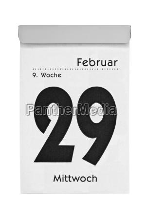 schaltjahr 2012 datum auf abreisskalender