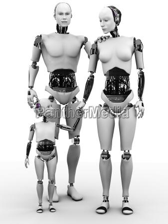 robot mann frau und kind