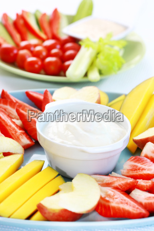 raw fruits and vegetables with
