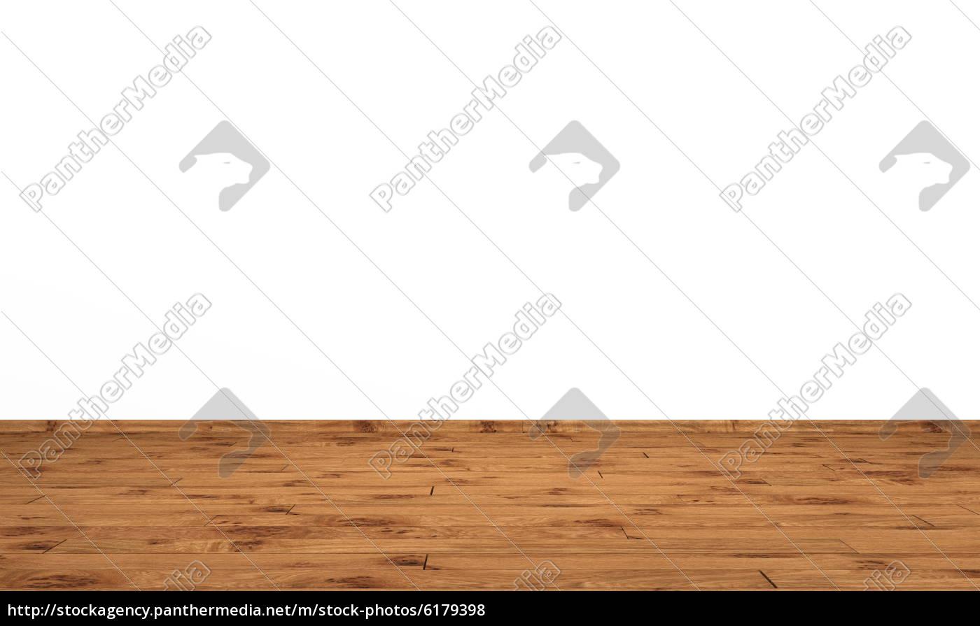 weisse wand mit holzboden - eiche mit astlöchern - stock photo