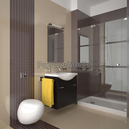 Attraktiv Stock Photo 6214214   Modernes Badezimmer Mit Beige Und Braun Fliesen